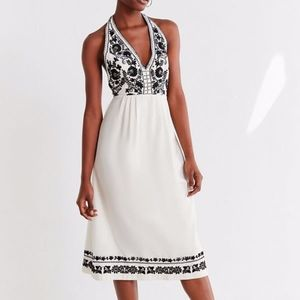 NEW UO Embroidered Halter Midi Dress White Summer